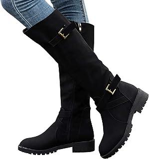 Damen Kniehohe PU-Leder-flache Stiefel Damen Mitte-Kalb Biker Boots Schuhe