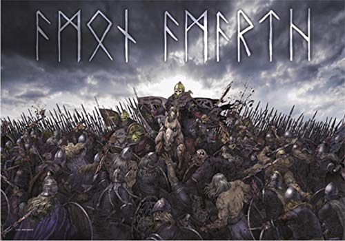 Heart Rock Licensed Flagge Brushed Amon Amarth–Battlefield, Stoff, Mehrfarbig, 110x 75x 0,1cm