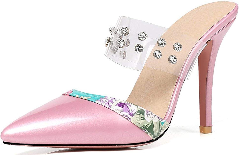 Lelehwhge Women's Sexy Rhinestone Pointed Toe Stiletto High Heels Slide On Mule Sandals Pink 7.5 M US