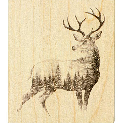 Inkadinkado Christmas Reindeer Mounted Rubber Stamp for Card Making and Scrapbooking, 3.5'' x 4'' x 1''