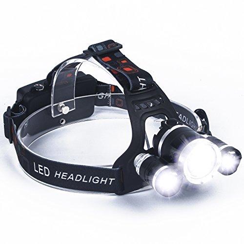 LED Faro, SUNINESS Super Bright 8000 Lúmenes Recargable Impermeable Linterna con 3 Cree LED y 4 Modos de Senderismo al Aire Libre Acampar Caza Pesca Ciclismo Correr