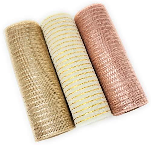 Christmas Rose Gold Deco Mesh, 10in x 10yd Metallic Ribbon Rolls (Rose Gold, Cream, Champagne)