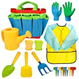 Kids Gardening Tools - Garden Tools Set - Kids Metal, Shovel, Rake, Trowel in One Tote Bag, Including Watering Can, Gardening Gloves, Smock - Garden Toys Gift for Toddler Preschool Boys & Girls