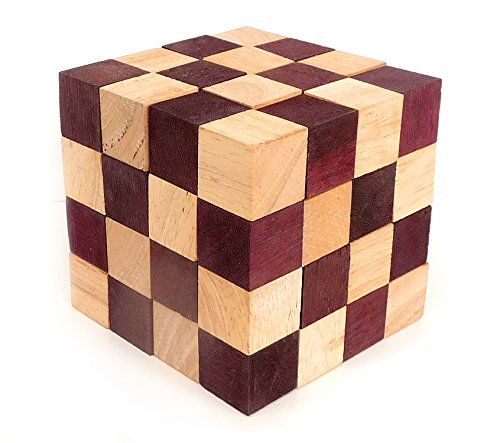 Logica Puzzles art. ANACONDA - 3D Wooden Brain Teaser - Fine Wood - Difficulty 5/6 Incredible - Expert Snake Puzzle
