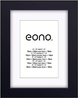 Eono by Amazon - Marco de Fotos de Madera Maciza y Cristal de Alta Definición para Pared Fotos de 10x15 cm con paspartú y de 15x20 cm sin paspartú Negro