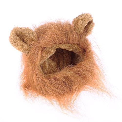 UEETEK Löwe Mähne Perücke Kostüm mit Ohren für Katze Hunde Haustier (Hellbraun)