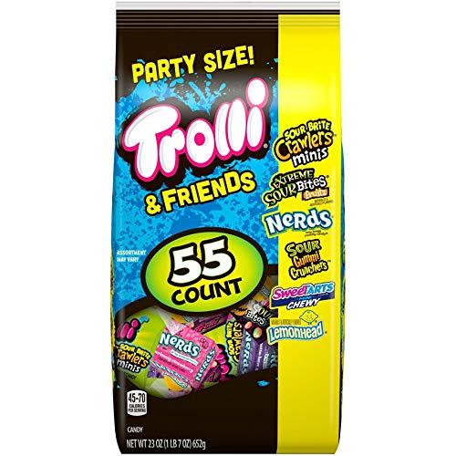 Trolli & Friends (1) Bag 55 Count Party Size Candy Assortment - Sour Brite Crawlers, Extreme Sour Bites Fruitz, Nerds, Gummi Crunchers, SweeTarts, Lemonead - Net Wt. 23 oz