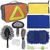 Faburo 9pcs Set Limpieza Coche Herramientas,Kit de Lavado de Autos para Cuidado Coche (esponja de chenilla/cepillo de ruedas/Cepillo de ventilación/Paño de limpieza de automóviles/Plumero)