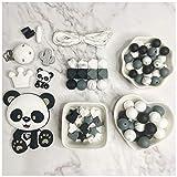 Cuentas de Dentición de Silicona para Bebés Collar de Mordedor de Panda DIY...