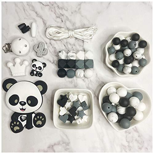 Cuentas de Dentición de Silicona para Bebés Collar de Mordedor de Panda DIY Pulsera de Cuentas Hexagonales de Enfermería Juguetes de Cadena de Chupete para Bebé
