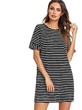Floerns Women s Summer Casual Ruffle Short Sleeve Tunic Striped T-Shirt Dress Black and White M