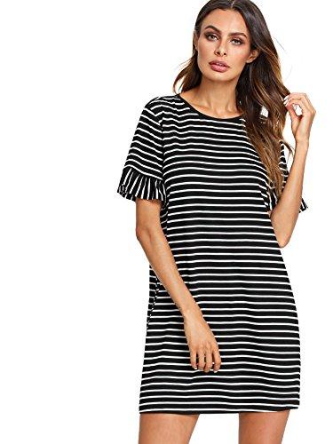 Floerns Women's Summer Casual Ruffle Short Sleeve Tunic Striped T-Shirt Dress Black and White M