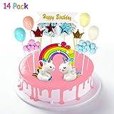 Yojoloin Tortendeko Einhorn Geburtstag, 14 Stück Kuchen Regenbogen Happy Birthday Girlande Luftballon Wolke Kuchen Topper Sterne Flagge für Kinder Mädchen Junge Geburtstag