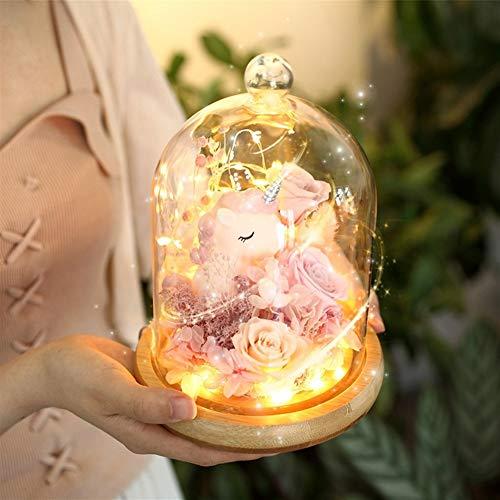 Frohe Weihnachten Weihnachten Rosen Valentinstag Geschenkideen und praktisches fertiges Glas Einhorn unsterbliche Blumen konserviert Blumenkästen 2020 guten Rutsch ins Neue Jahr ( Color : BX280B0 )