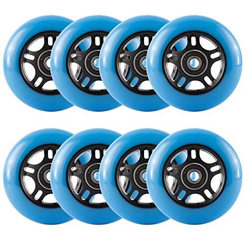 Yaegoo Inline Skate Wheels 8 Pack Skates Replacement Wheels with Bearings (Blue, 80mm)