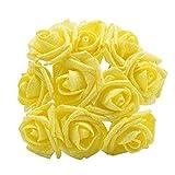 WXL 10 rosas artificiales de espuma con purpurina para decoración de boda, flores artificiales (color: amarillo)