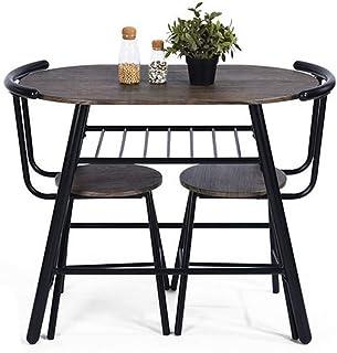 FURNITURE-R France Ensemble Table 2 chaises Set déjeuner avec Une Grande étagère Rangement Noir 90 x 50 x 76cm PEAT JM LMKZ