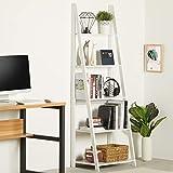 EPHEX Leiterregal Standregal Bücherregal mit 5 Böden, Lagerregal Badregal Multifunktionales Ausstellungsregal für Wohnzimmer, Balkon, Weiß