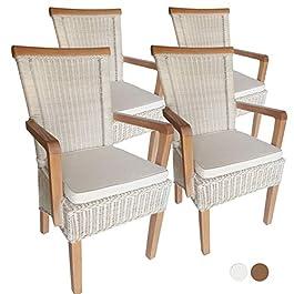 casamia Lot de 4 chaises de salle à manger avec accoudoirs en rotin Blanc Perth avec housse de coussin Blanc