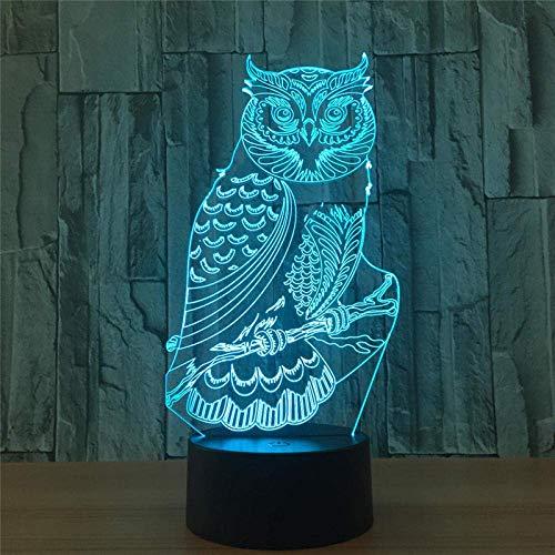 3D Illusion Lamp Led Night Light Spiritual Owl Action 7 Color Touch Lampada da tavolo Decorazione Modello ottico I migliori regali di compleanno per i bambini