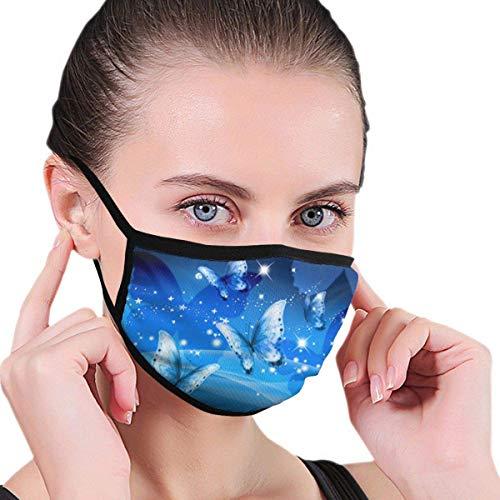 Cat Dreamer Blue Butterflies Design Gesichtsbedeckung Waschbare und Wiederverwendbare staubdichte Gesichtsbedeckung für Erwachsene