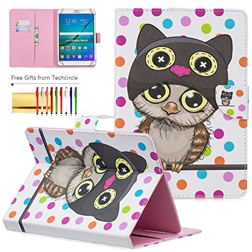 10 inch Universal Tablet Cover, Techcircle Colorful PU Leather Stand Flip Wallet Protective Case, for Apple iPad Air 10.5/9.7, iPad Pro 11, Samsung Galaxy Tab 10.1/9.7/10.5' Series, Owl Polka Dots