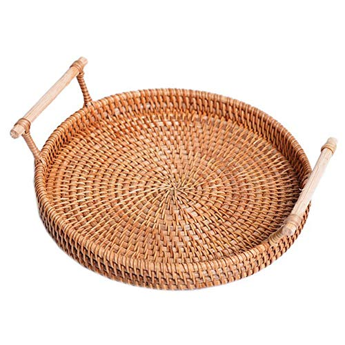 AKB Rattan Storage Tray, Rattan Baskets, Round Organizers Box, Rattan Bread Basket Round Hand-Woven Tea Tray with Handle, for Serving Dinner Parties Coffee Breakfast