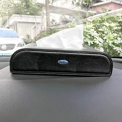 HUBUISH for Ford F150 F250 F350 F450 F550 Edge Explorer Mustang F151 Series car Logo PU Leather Tissue Box, Napkin Holder, armrest and Back seat Tissue Box (Black)