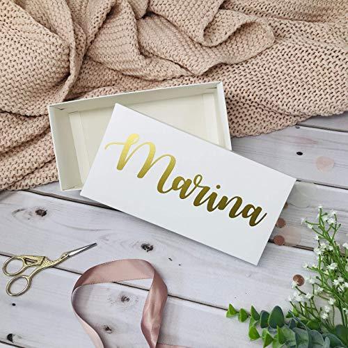 Geschenkbox personalisiert in weiß Geschenk Trauzeugin Brautjungfer Brautmama Gastgeschenk