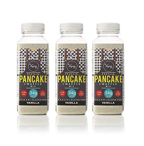 The Vegain Bros - 3 x GF Vegan Vanilla Pancake + Waffle Mix | High Protein, Low Sugar, Low Fat, Breakfast Snack |