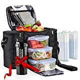 Meal Prep Lunch Bag/Box for Men, Women + 3 Large Food Containers