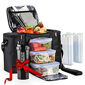 Meal Prep Lunch Bag / Box For Men Women + 3 Large Food Containers  45 Oz  + 2 Big Reusable Ice Packs + Shoulder Strap + Shaker With Storage Insulated Lunchbox Cooler Portion Control Set  Black