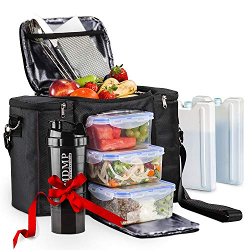 Meal Prep Lunch Bag / Box For Men, Women + 3 Large Food Containers (45 Oz.) + 2 Big Reusable Ice Packs + Shoulder Strap + Shaker With Storage. Insulated Lunchbox Cooler Portion Control Set (Black)