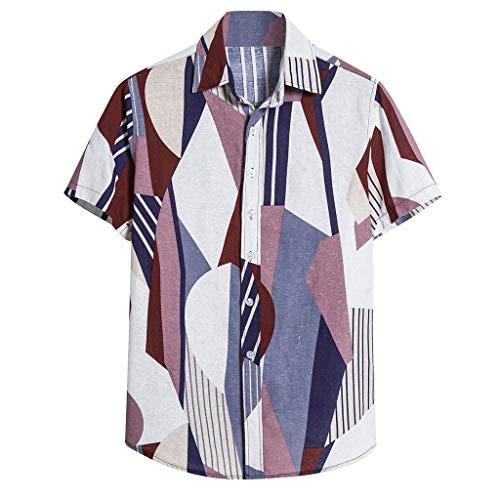Xniral Kurzarm Strand Hemd Bluse Beiläufig Gedruckt Nationaler Stil Bequeme Lose T-Shirt Kurzarmhemden für Männer Vintage bedrucktes Stehkragen(d Lila,4XL)