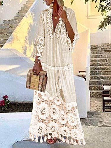 Shownicer Vestido Mujer Bohemio Largo Verano Playa Fiesta Cordón Manga Larga Cuello en V Maxi Vestidos de Noche Fiesta Banquete Cóctel Blanco L