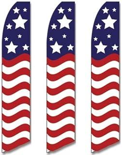 3 (three) Pack Tall Swooper Flags USA America American Stars Stripe Wave