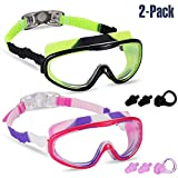 Rngeo 2 Pack Kids Swim Goggles, Swimming Glasses for Children and Early Teens