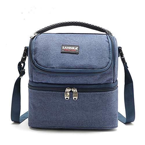 Egurs Lunch Bag geïsoleerde koeltas thermische zakken met verstelbare schouderriem voor werk/school/picknick, dubbel vak, 7L
