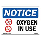 OSHA Notice Sign - NOTICE Oxygen In Use | Rigid Plastic Sign | Protect Your Business, Construction Site, Warehouse & Shop Area |  Made in the USA, 10' X 7' Rigid Plastic