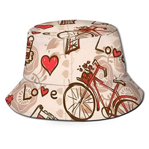 QUEMIN Last Minute Paris Eiffelturm rotes Thema Liebe Beere Kuchen Kuchen Kamera Fahrrad Unisex Eimer Hut Fischer Hut Sonnenhut Einheitsgröße