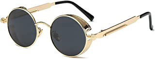 AMZTM Small Round Steampunk Women and Men Sunglasses Metal Frame Mirrored Reflective Lens Polarized Glasses