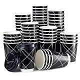 PREMIUM VALUE SET 100 Disposable Coffee Cups With 100 Lids - Double Wall Insulated (No sleeves needed) - Upscale Design for Weddings, Parties, Coffee House & More - 12 oz To Go Coffee Cup