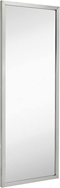 Commercial Restroom Full Length Wall Mirror Contemporary Industrial Strength Brushed Metal Silver Rectangle Mirrored Glass Vanity Bedroom Or Restroom Horizontal Vertical 18 X 48