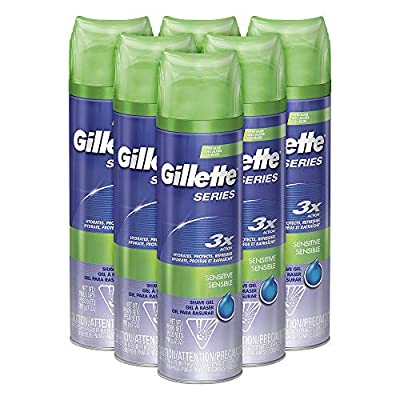 Gillette Series 3X Shave Gel Sensitive 7 Ounce (6 Pack)