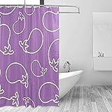 Lila Auberginen Gemüse Duschvorhang Set für Home Polyester wasserdichtes Stoff Badezimmer mit Haken 36x72 inch
