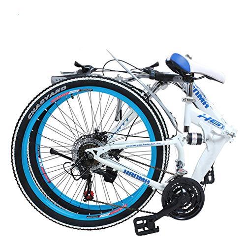 Grimk Bicicleta De Montaña Plegable Hombre,Mountain Bike Btt,Bici Unisex Adultos Ligera,Cuadro De Aluminio,Rueda De 27 Pulgadas,sillin Confort Ajustables,Doble Freno Disco