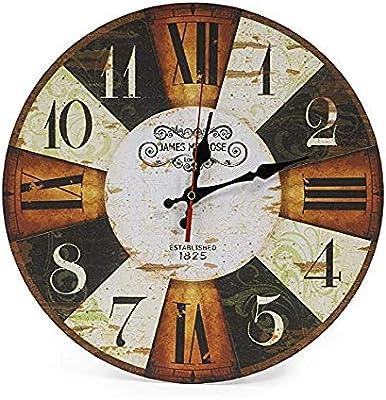 ZWFLJL 30cm Silent Wooden Round Wall Clock, 12