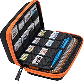 BRENDO Carrying Case for New Nintendo 2DS XL Includes Large Stylus Fits Wall Charger 24 Game Cartridge Case Holder Large Accessories Pocket - Black /Orange