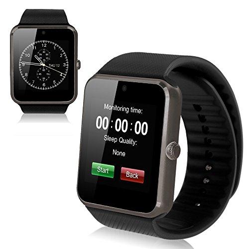Theoutlettablet GT08 Smartwatch, Bluetooth, voor telefoon met simkaart en micro-SD-kaartsleuf, zwart