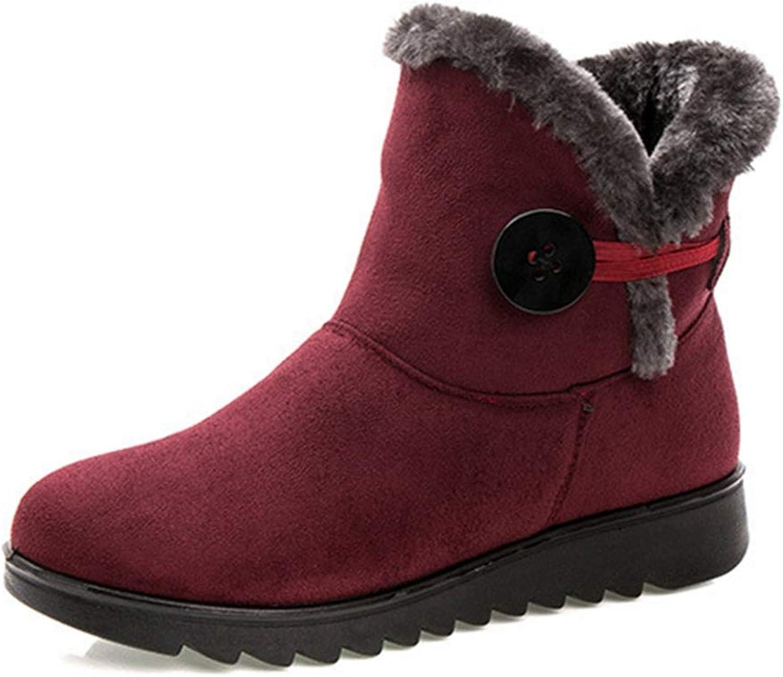 GIY Women's Warm Fur Snow Boots Button Slip On Platform Anti-Slip Winter Outdoor High Top Ankle Booties